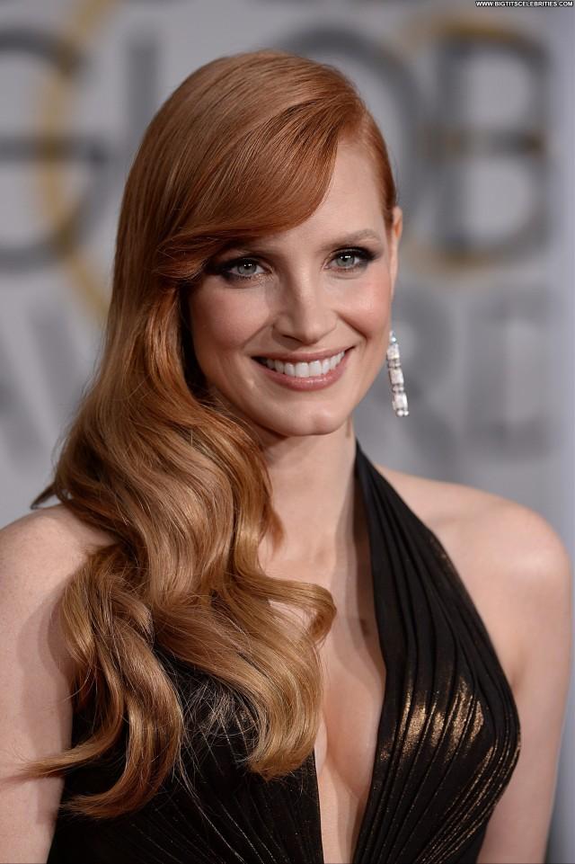 Jessica Chastain Golden Globe Awards Hot Cute Celebrity Nice Stunning