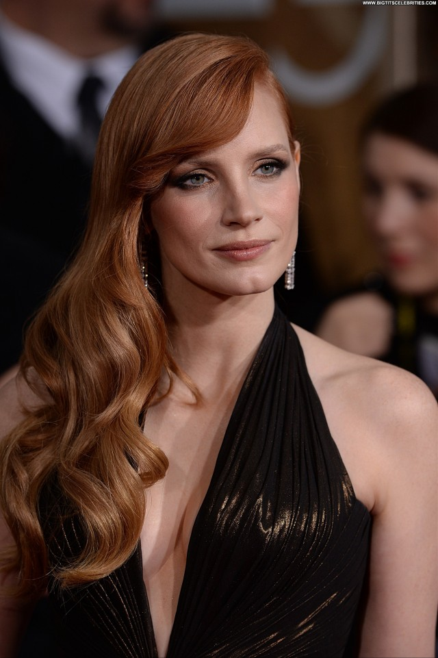 Jessica Chastain Golden Globe Awards  Stunning Sultry Cute Celebrity