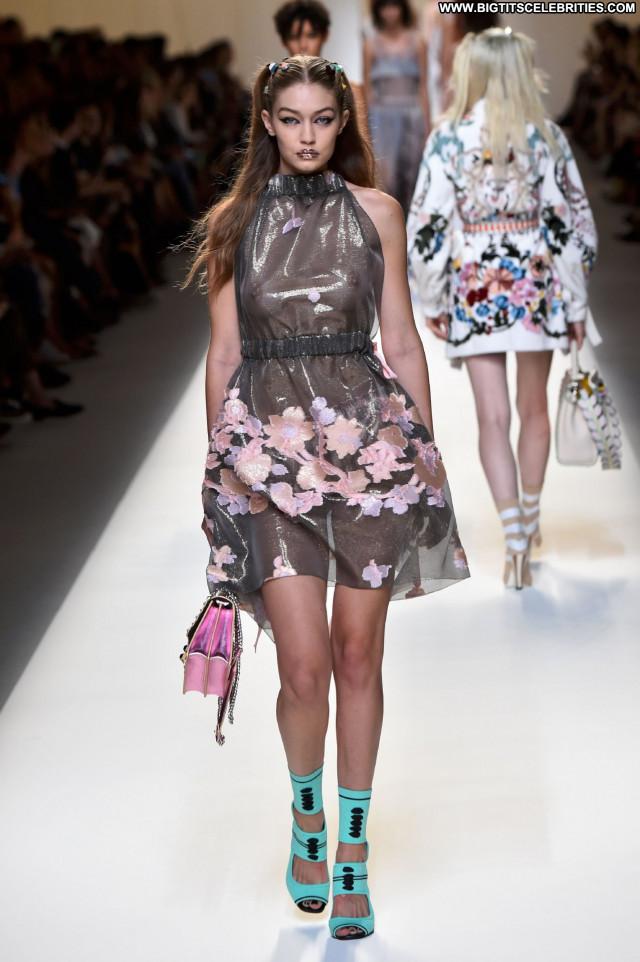 Gigi Hadid Fashion Show Beautiful Fashion Posing Hot See Through