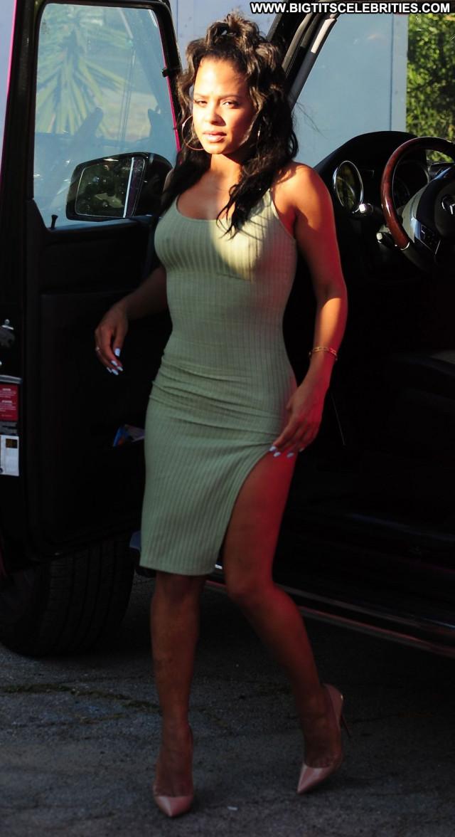 Christina Milian No Source Braless Pokies Paparazzi Celebrity Posing