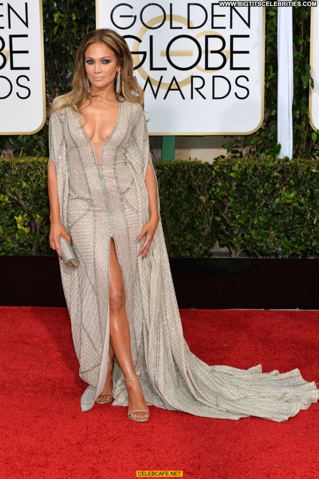 Jennifer Lopez Golden Globe Awards Celebrity Beautiful Cleavage