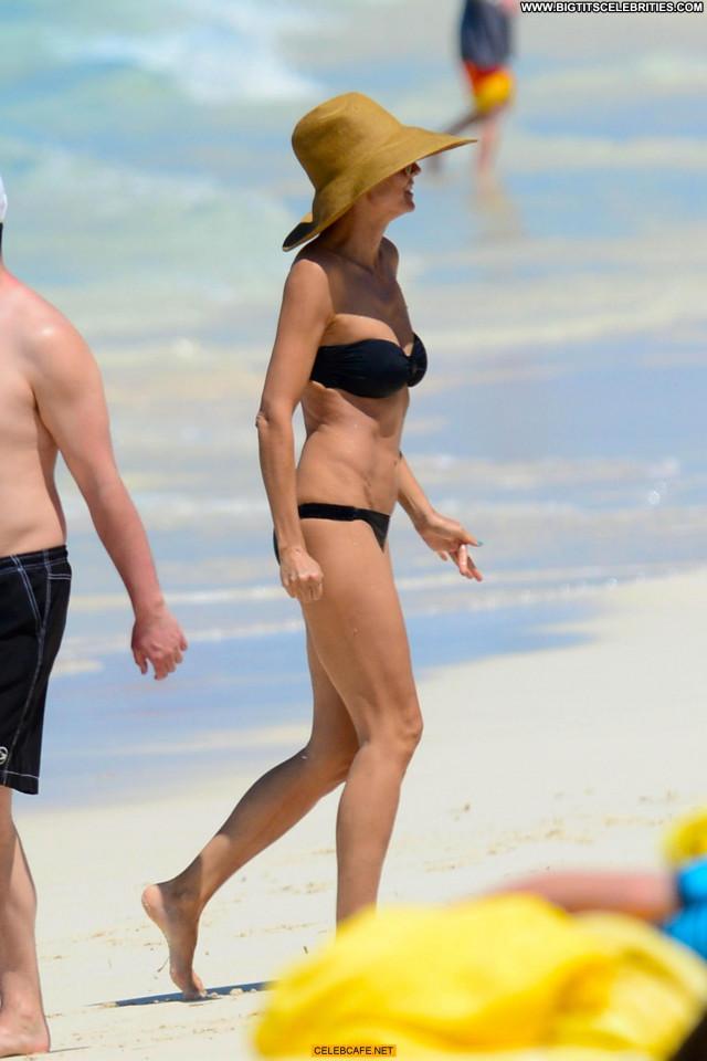 Heidi Klum No Source Bahamas Celebrity Black Bikini The Bahamas Beach