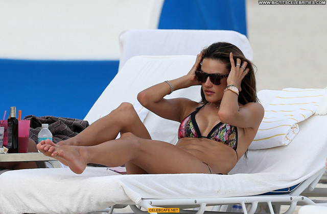 Alessandra Ambrosio Miami Beach Beautiful Posing Hot Babe Beach
