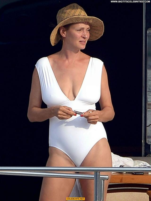 Uma Thurman No Source Saint Tropez Celebrity Yacht Posing Hot Babe