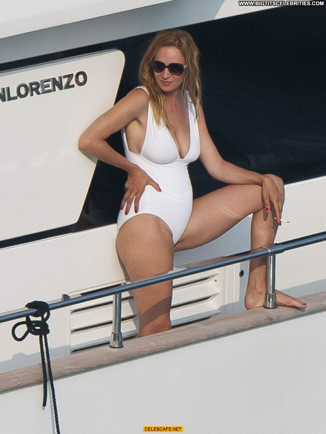 Uma Thurman Celebrity Babe Beautiful Saint Tropez Yacht Posing Hot