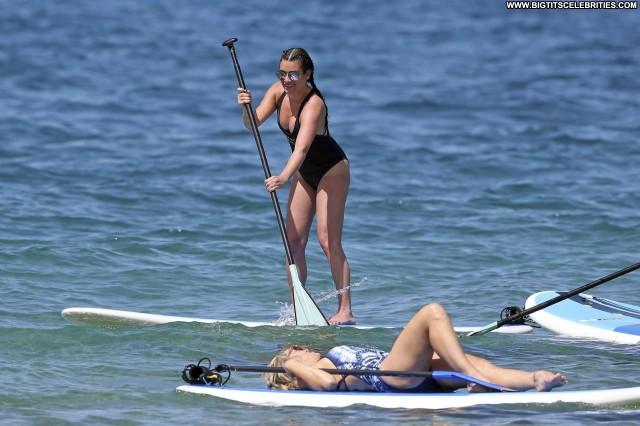 Lea Michele No Source Swimsuit Beach Sex Babe Sexy Black Posing Hot
